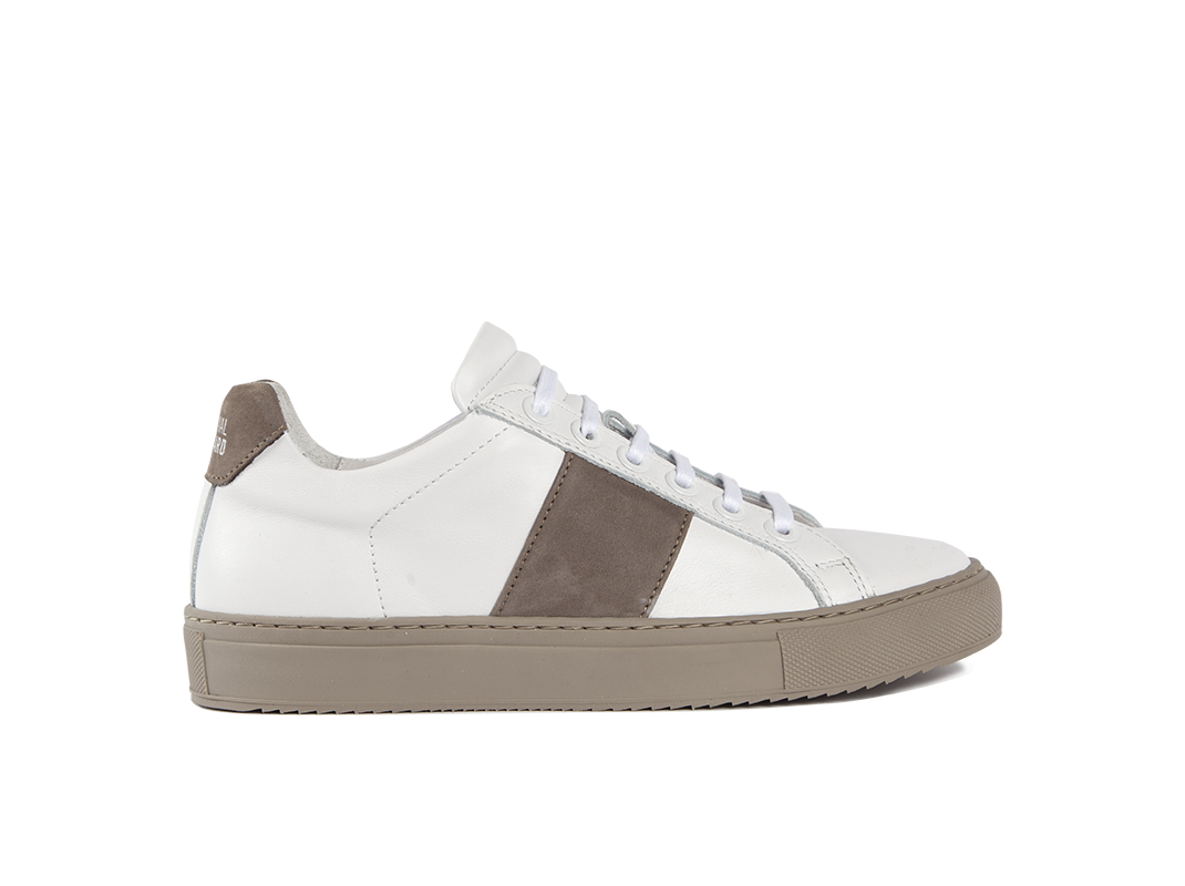 Edition 4 sneakers basses blanches bande taupe