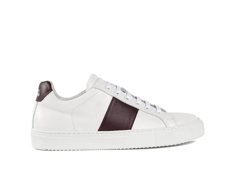 Edition 4 sneakers basses blanches bande bordeaux